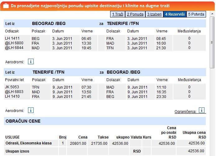 Avionske Karte.Beograd Tenerife Playa Des Las Americas Cena Povratne Avionske Karte